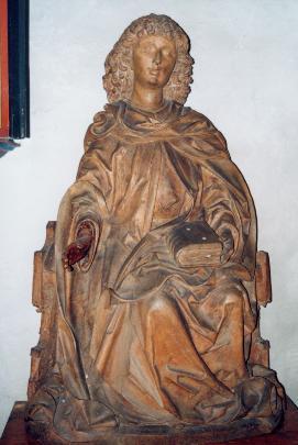 Thronender St. Veit. Dreiviertel-Plastik. Nürnberger Arbeit um 1500. Vormals Hauptfigur des gotischen Hauptaltares (bis 1698) (Foto: Günter Schopper)
