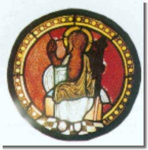 """Glasmedallion über dem Südportal (Ende 13. Jh.): """"Der thronende Christus"""""""