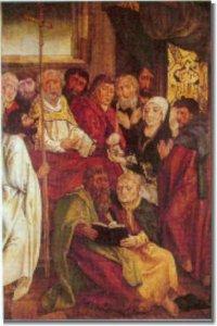 """""""Tod Mariens"""", Bildtafel am Marienaltar (Hans-von-Kulmbach-Schule; um 1510)"""